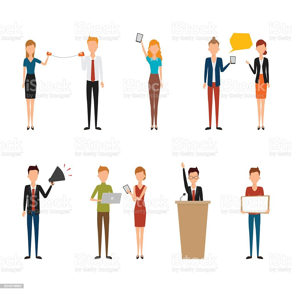 People character of business man and business woman. vector art illustration