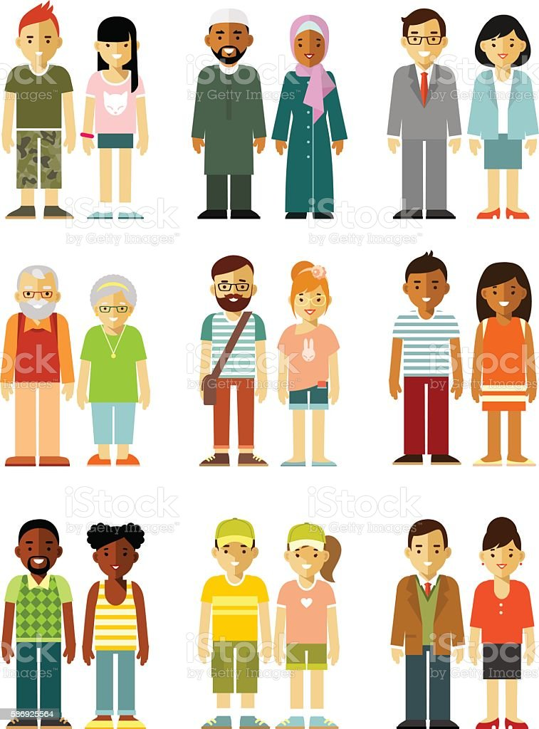 People characters couple standing together set vector art illustration