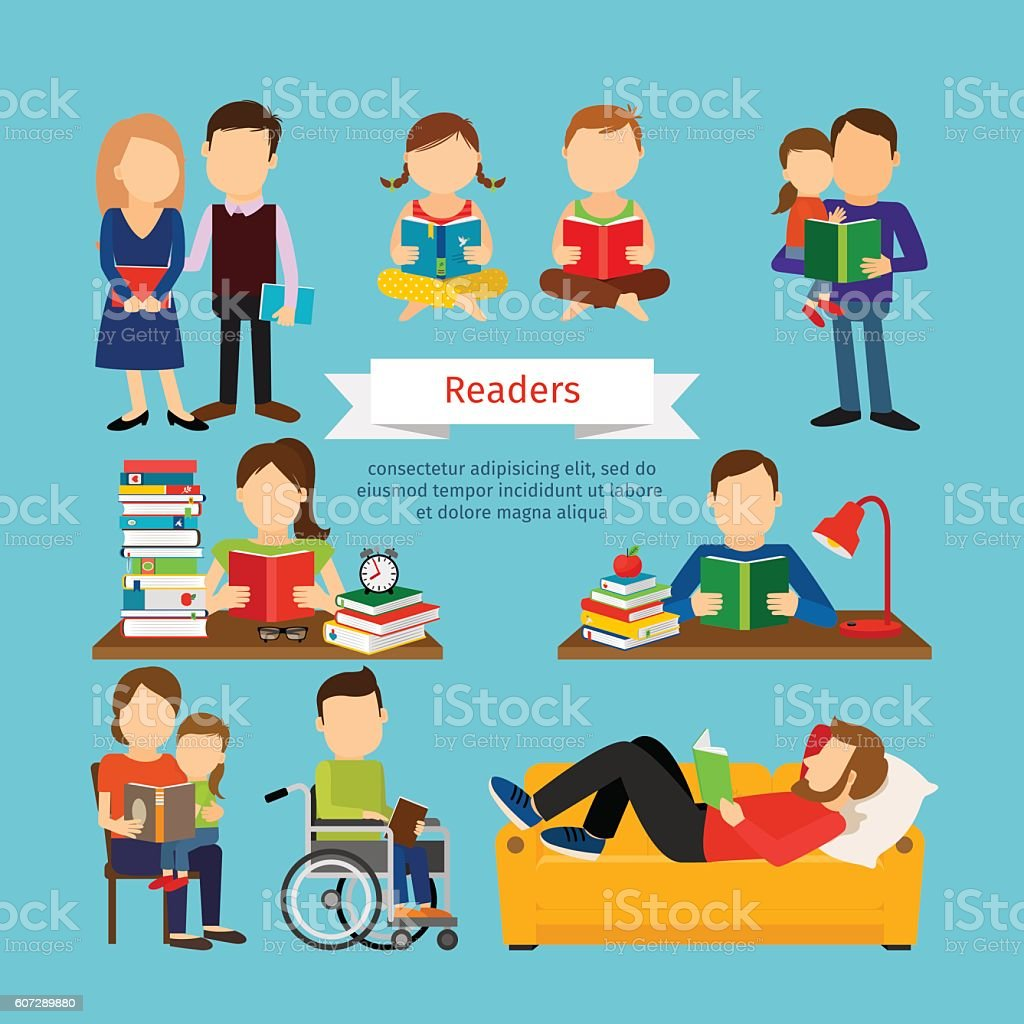 People characters reading book or magazines vector art illustration