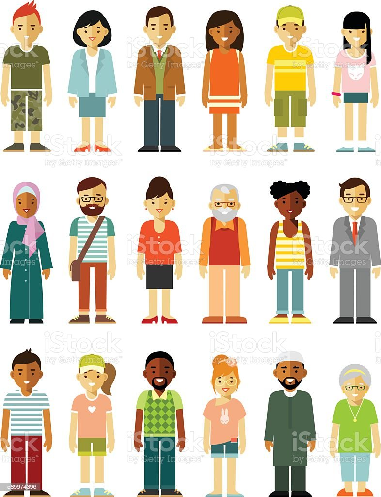 People characters standing together set vector art illustration