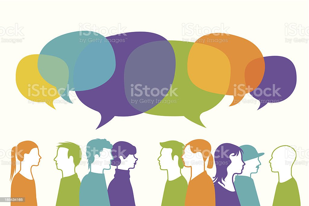 People chatting vector art illustration