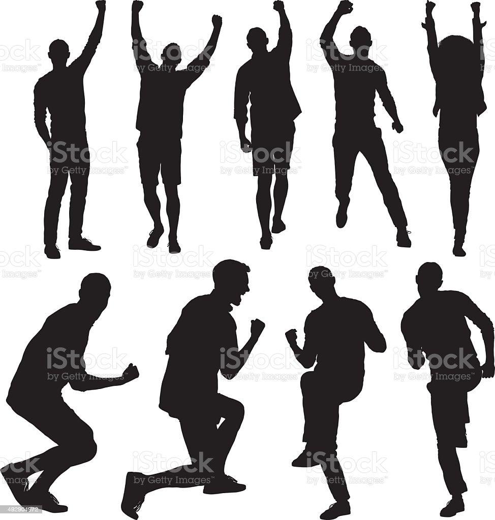People cheering vector art illustration