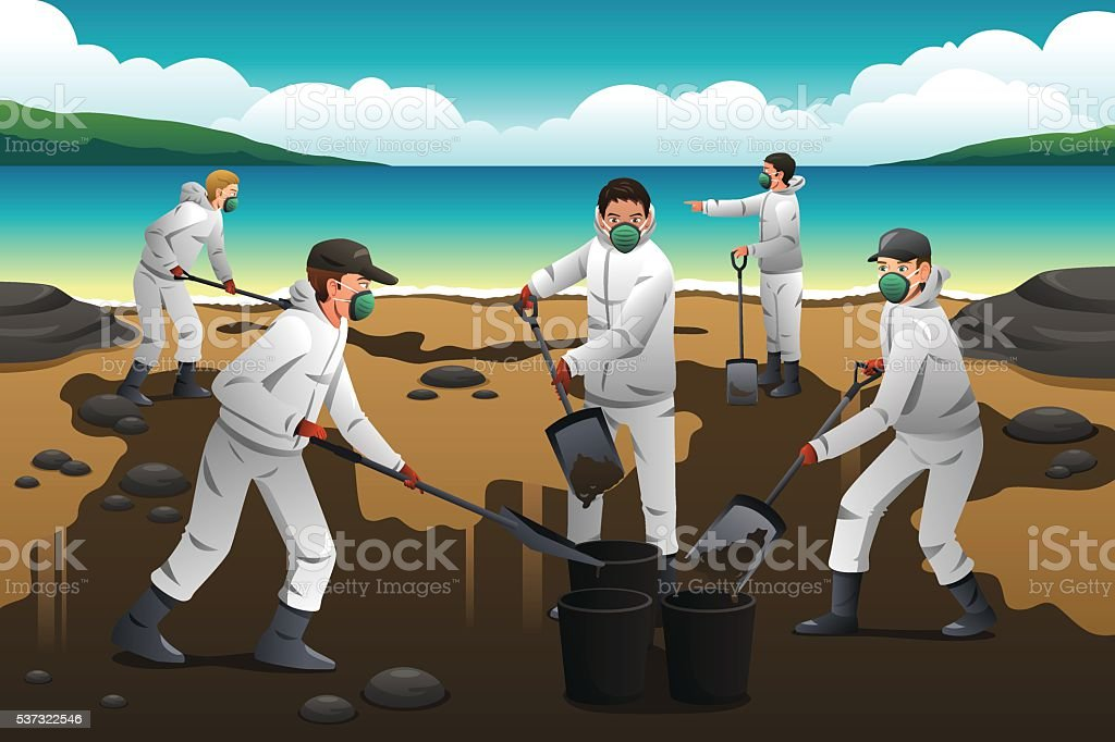 People Cleaning After an Oil Spill vector art illustration