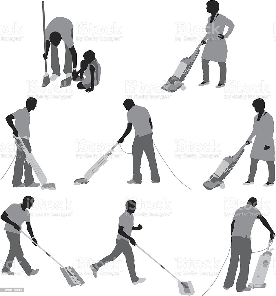 People cleaning the floor vector art illustration
