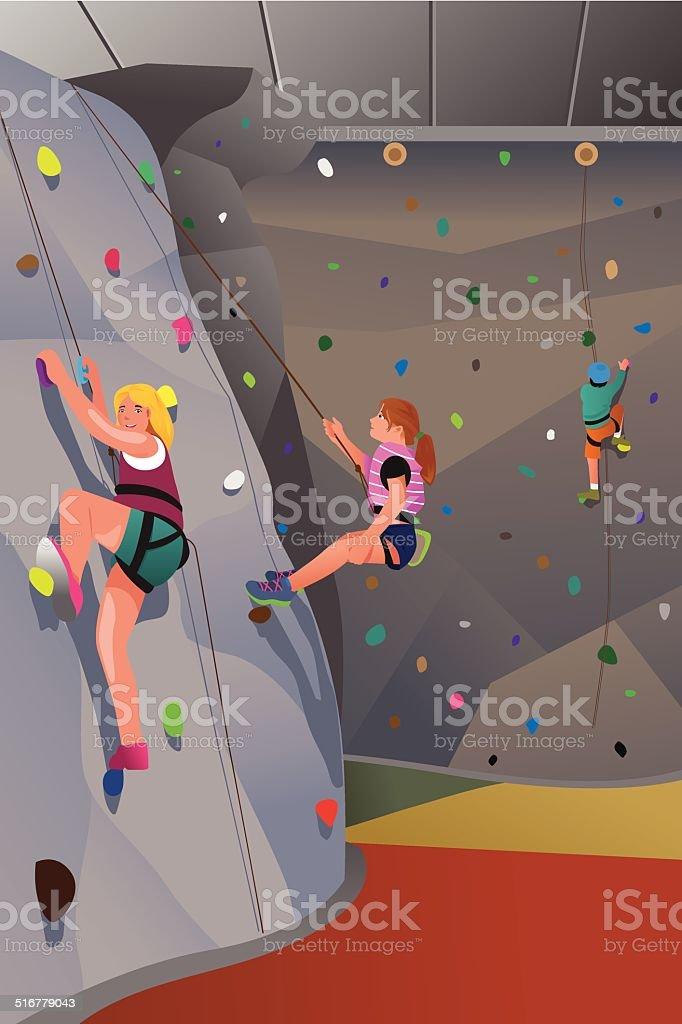People climbing indoor wall vector art illustration