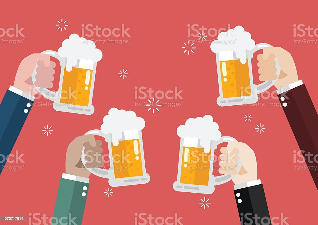 People clinking beer glasses vector art illustration