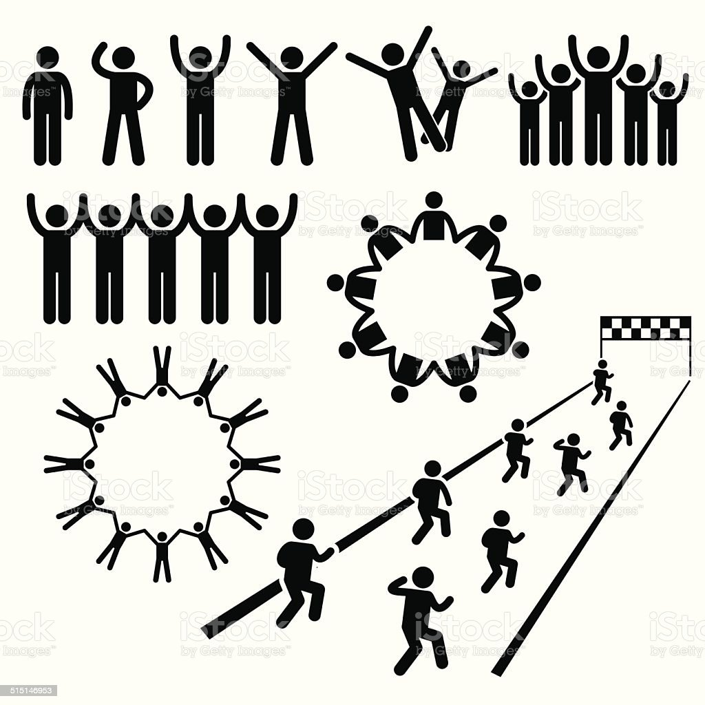 People Community Welfare Stick Figure Pictogram Icons vector art illustration