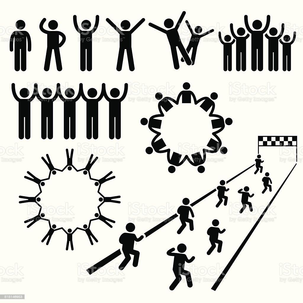 People Community Welfare Stick Figure Pictogram Icons vector art illustration