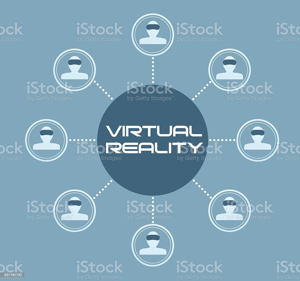 People connected through virtual reality vector art illustration