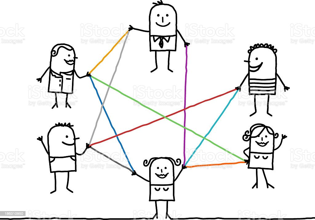 people connected with color lines vector art illustration