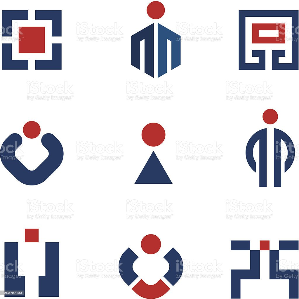 People corporate business technology sales success logo vector icon set vector art illustration