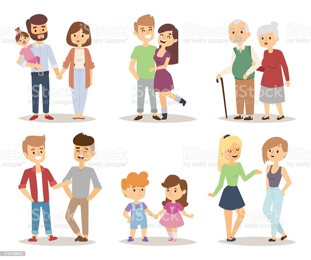 People couple relaxed cartoon vector illustration set vector art illustration