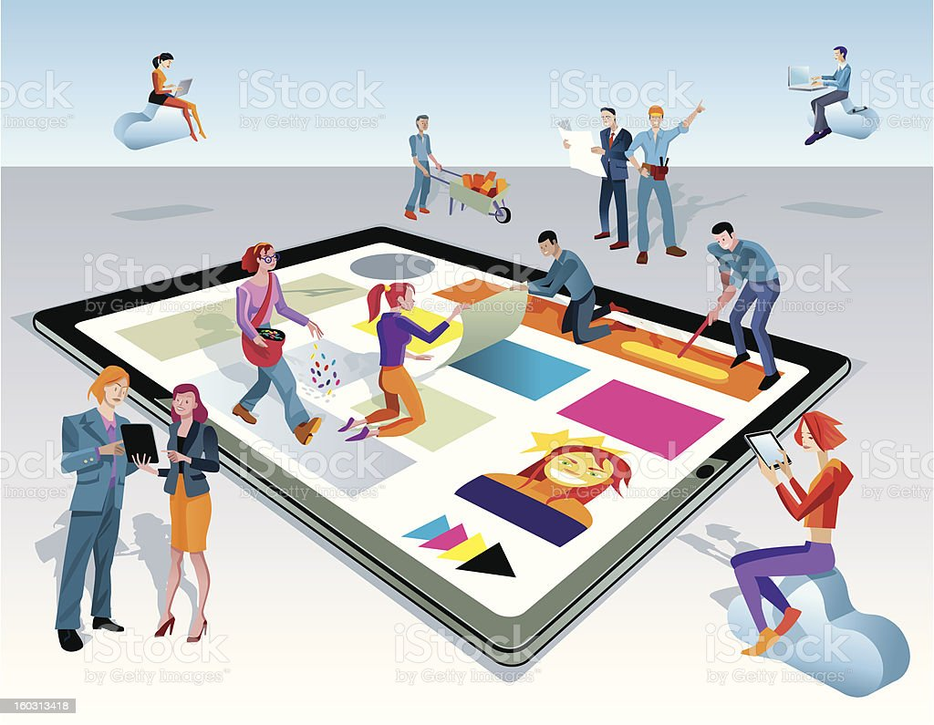 People Creating Digital Tablet Content royalty-free stock vector art