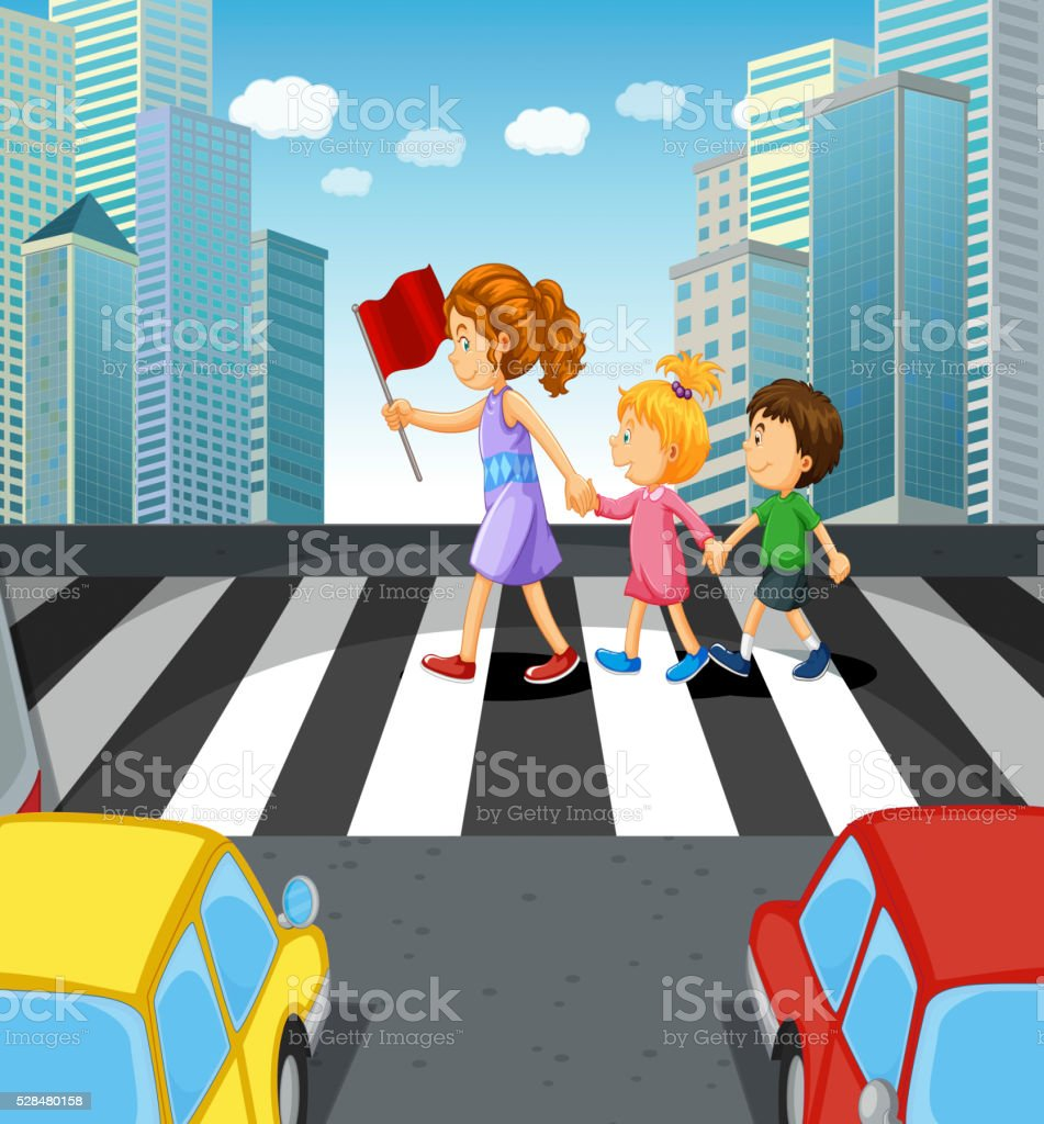 People crossing stree in the city vector art illustration