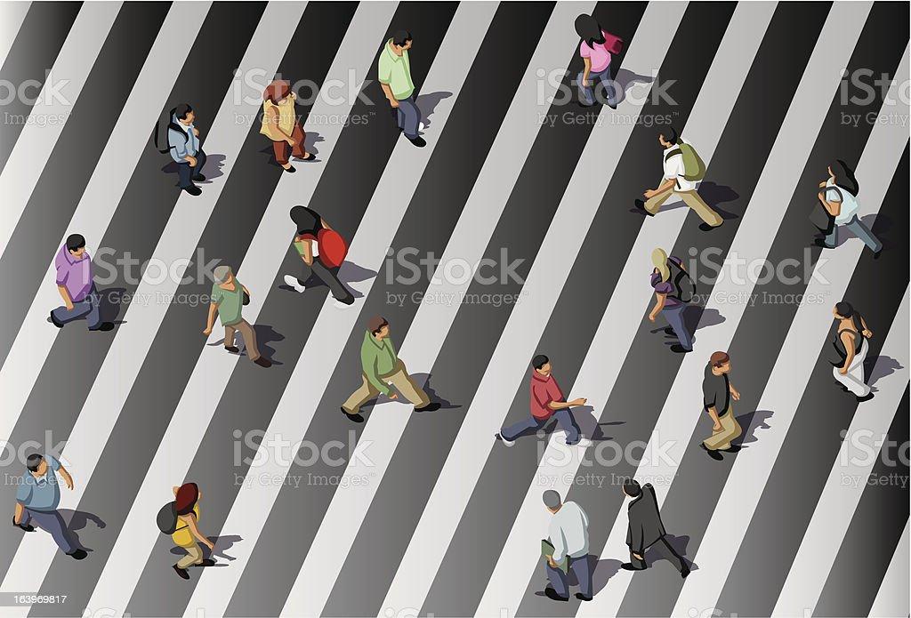 people crossing street royalty-free stock vector art