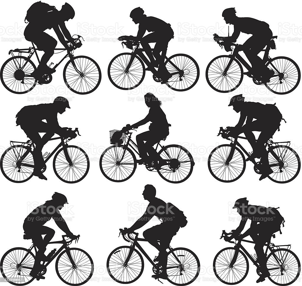 People cycling vector art illustration