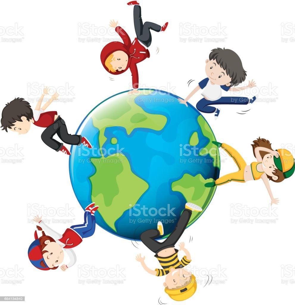 People dancing around the world vector art illustration