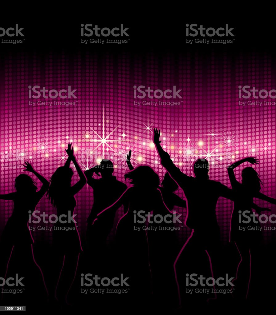 People Dancing in Nightclub vector art illustration