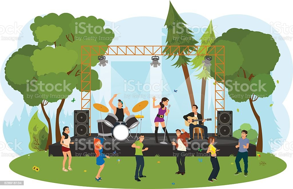 People dancing in the city park at the concert. vector art illustration