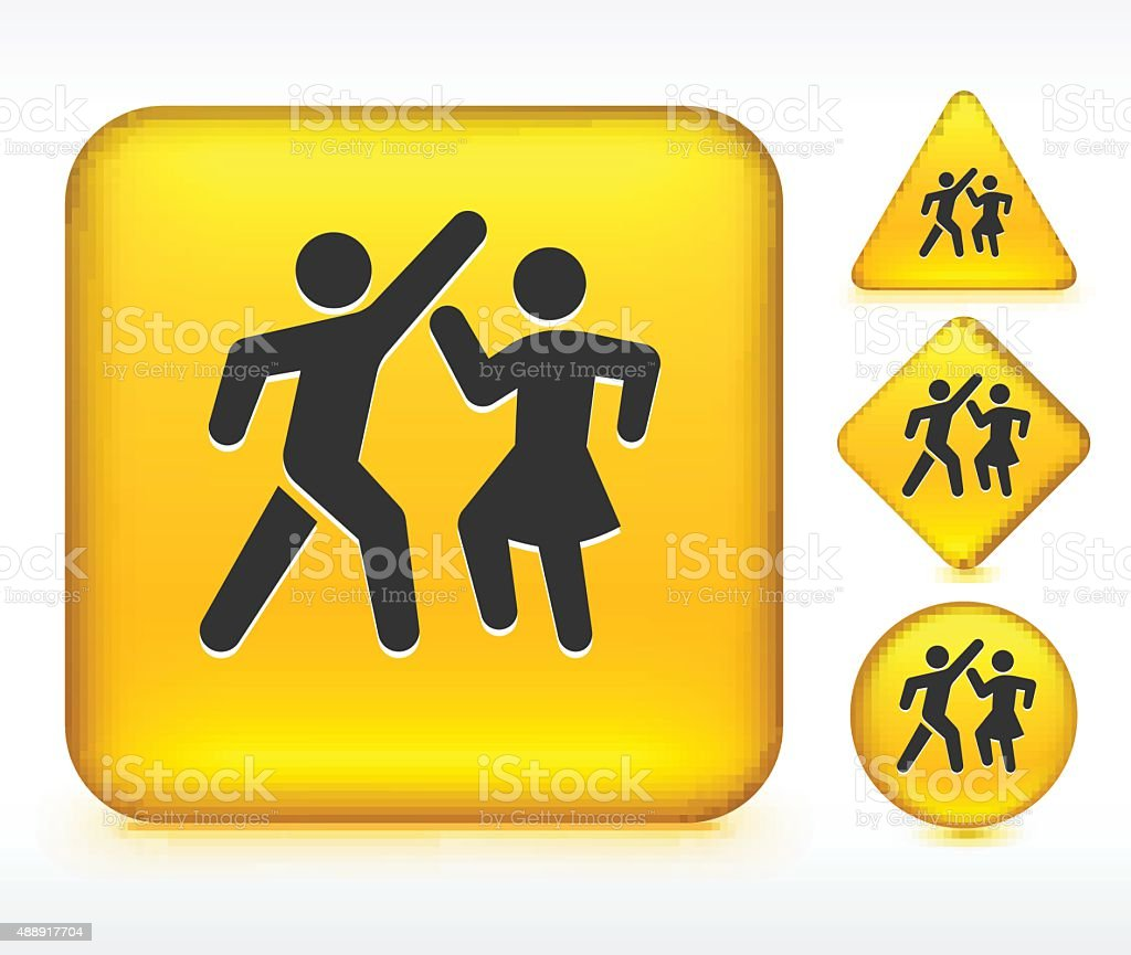 People Dancing on Yellow Buttons vector art illustration