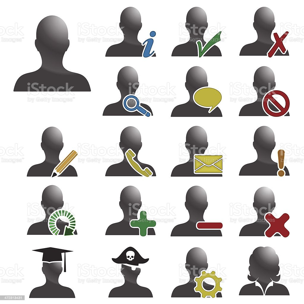People Database Vector Icons. royalty-free stock vector art