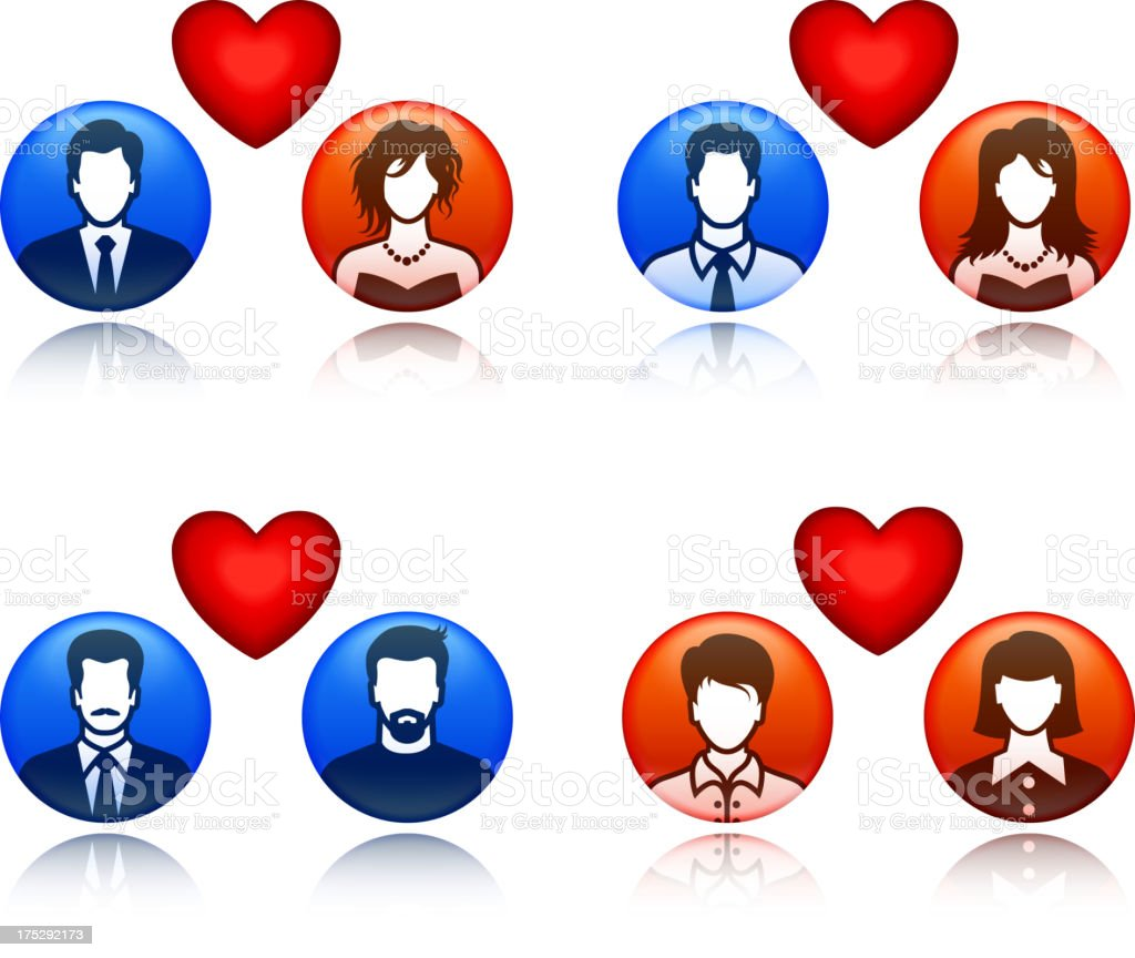 People, Dating, Love, and Relationship Red & Blue Set royalty-free stock vector art