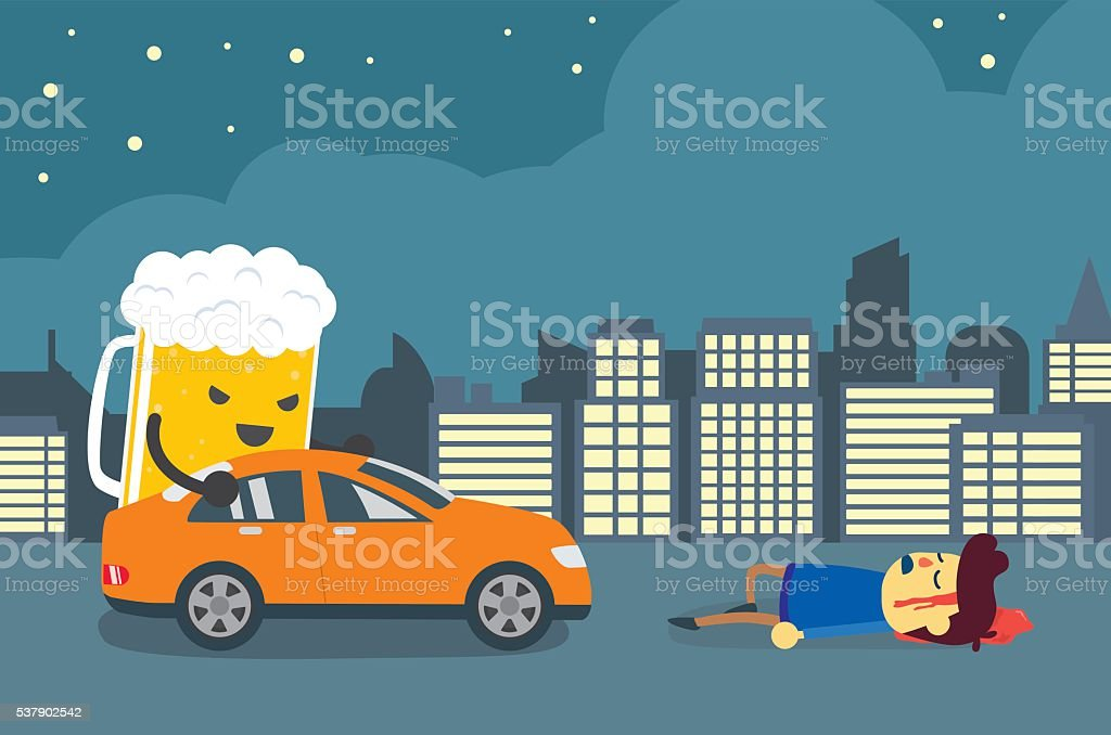 People died in drunk driving crashes. vector art illustration