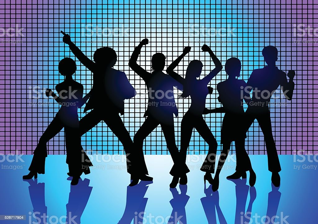 People Disco Dancing vector art illustration