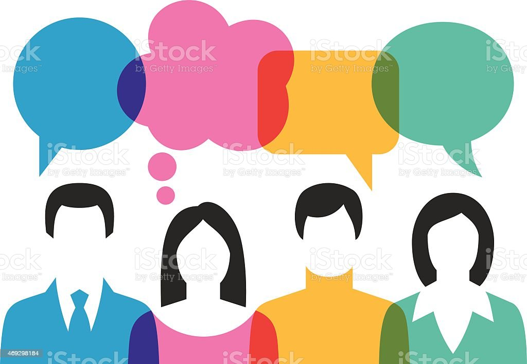 People Discussing With Speech Bubbles vector art illustration