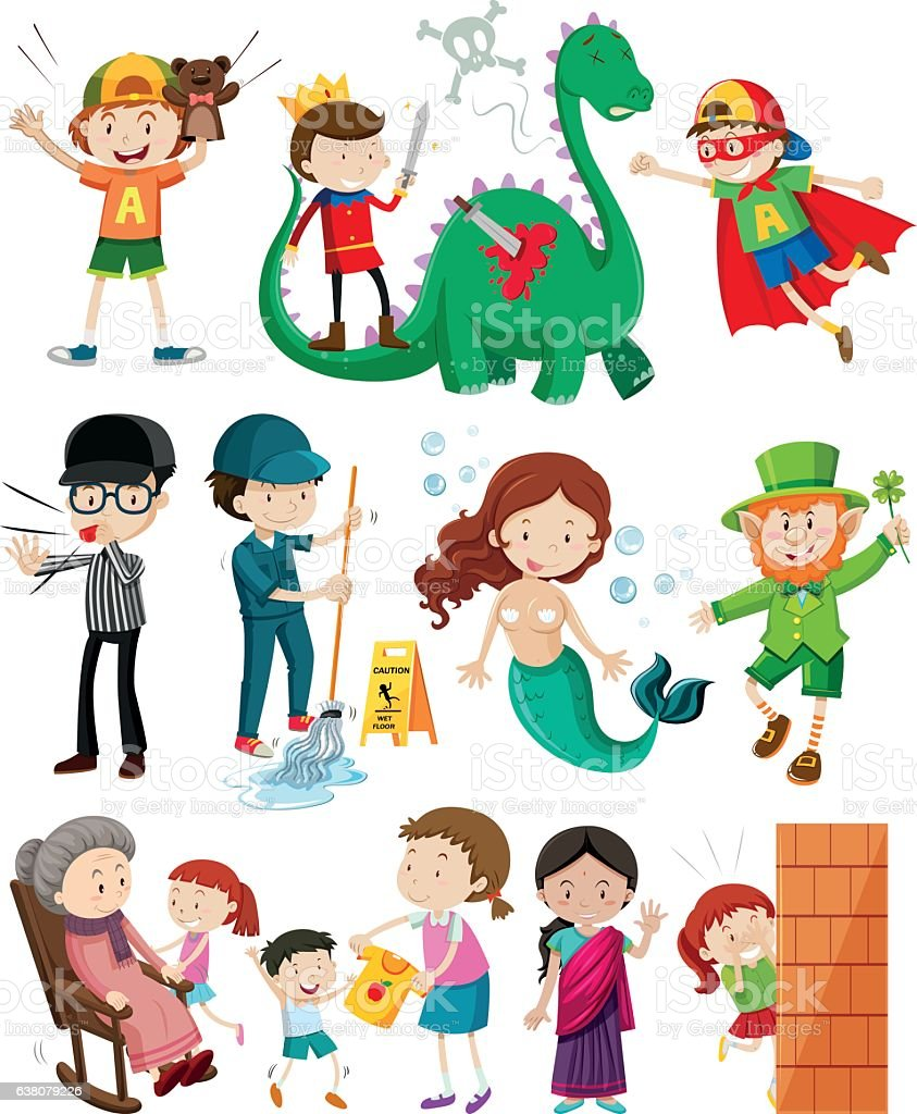 People doing different activities vector art illustration