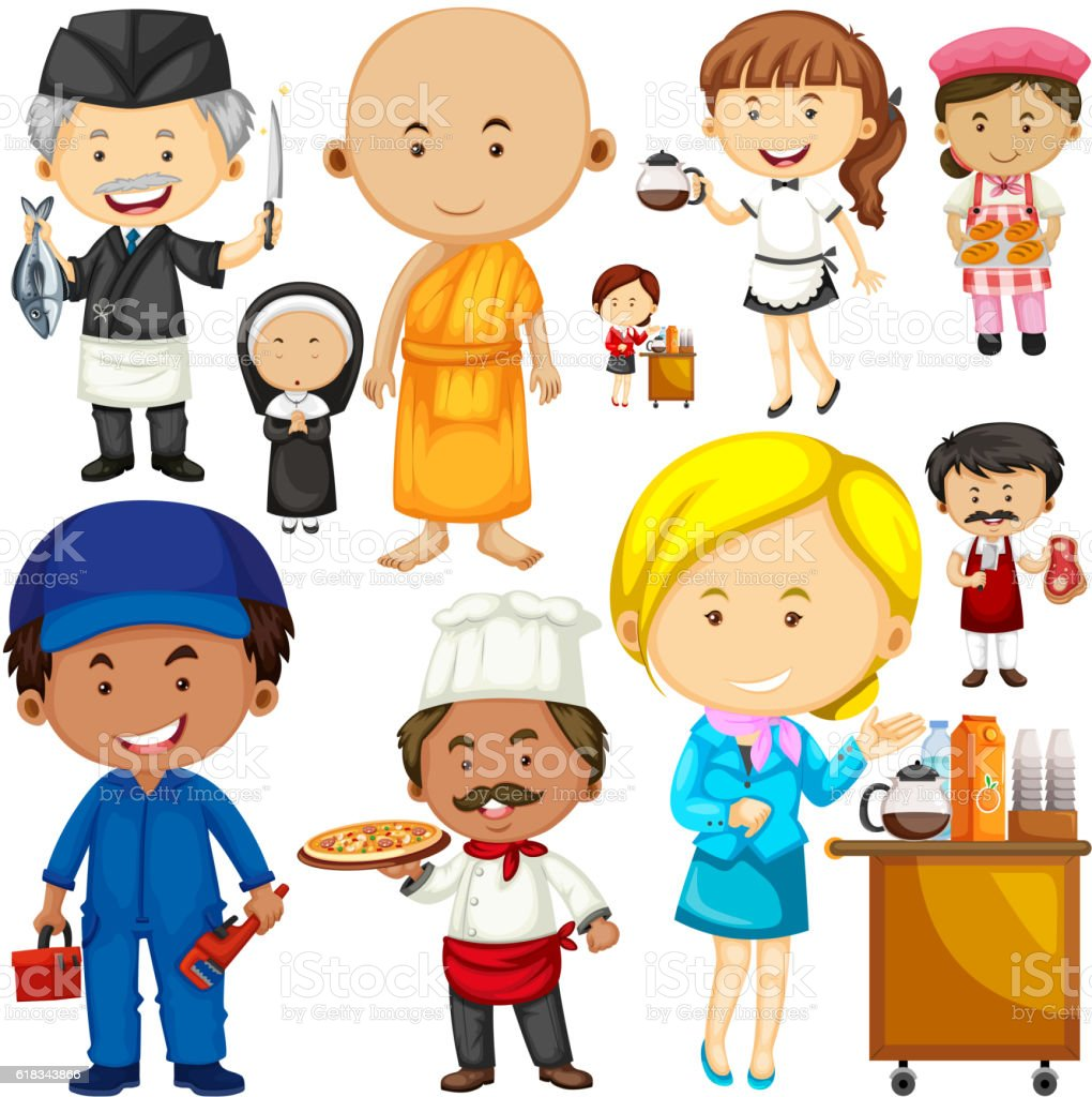 People doing different occupations vector art illustration