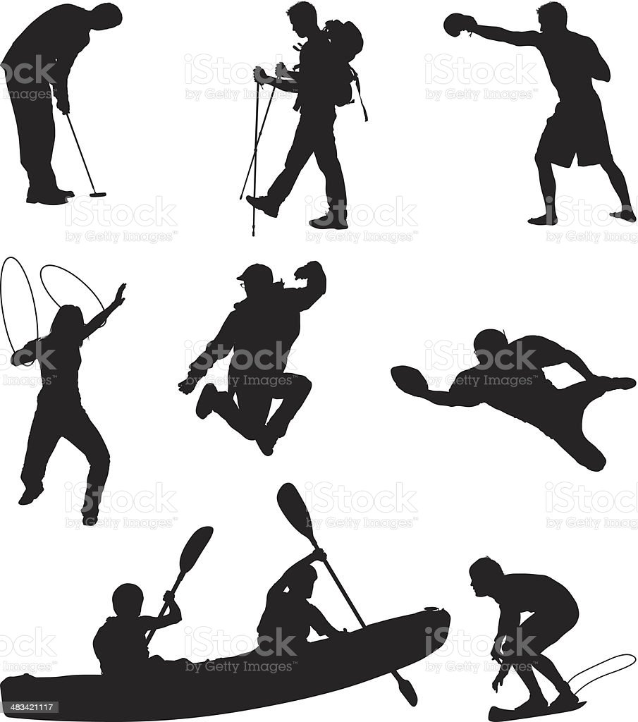 People doing multiple sports royalty-free stock vector art