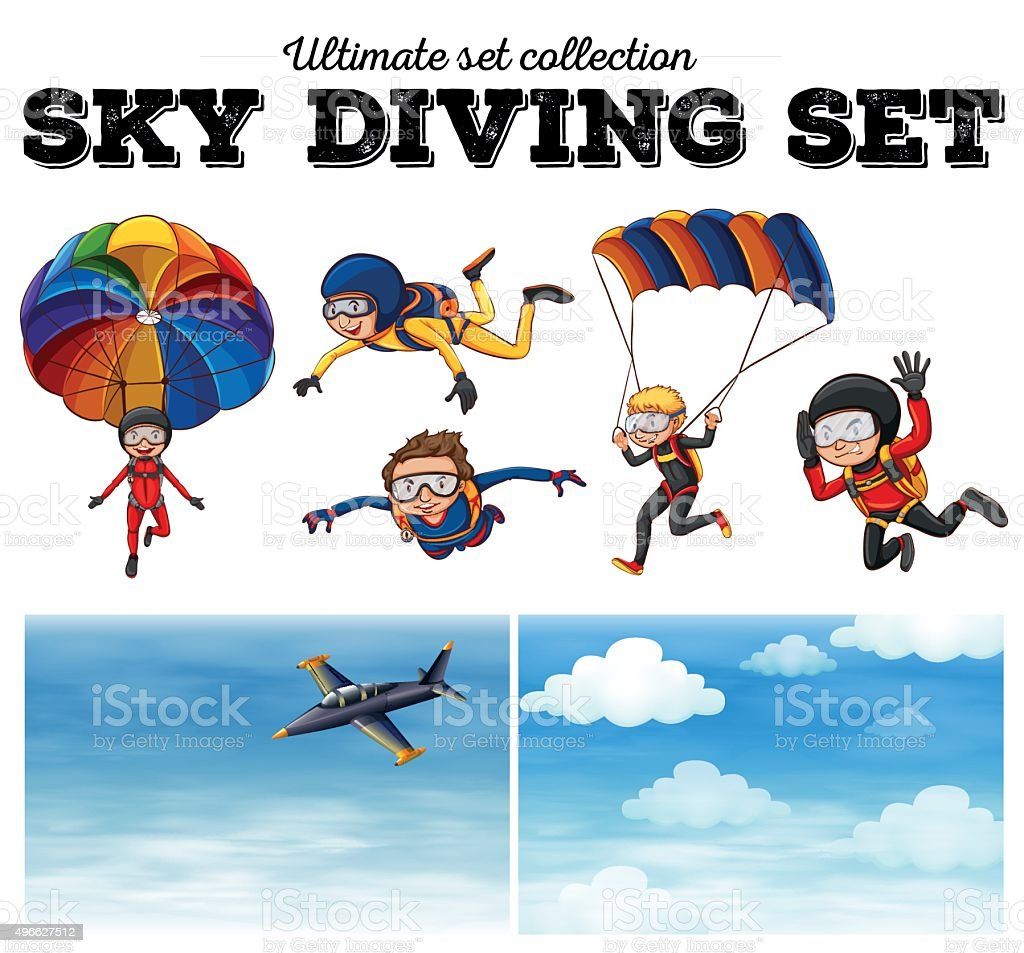 People doing sky diving vector art illustration