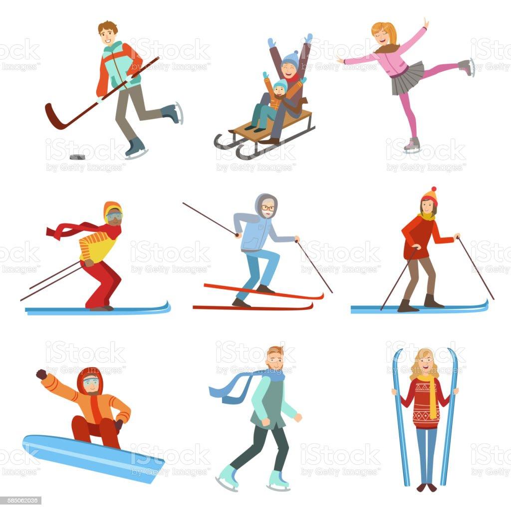People Doing Winter Sports Illustration Set vector art illustration