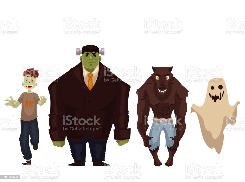 People dressed in monster, zombie, werewolf and ghost Halloween costumes vector art illustration