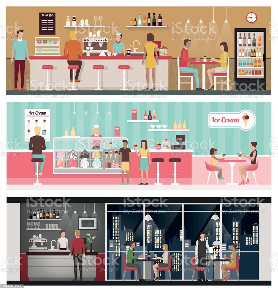 People eating banner set vector art illustration