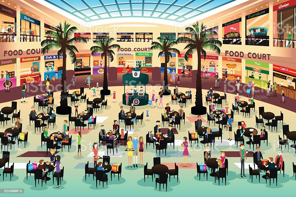 People Eating in a Food Court vector art illustration