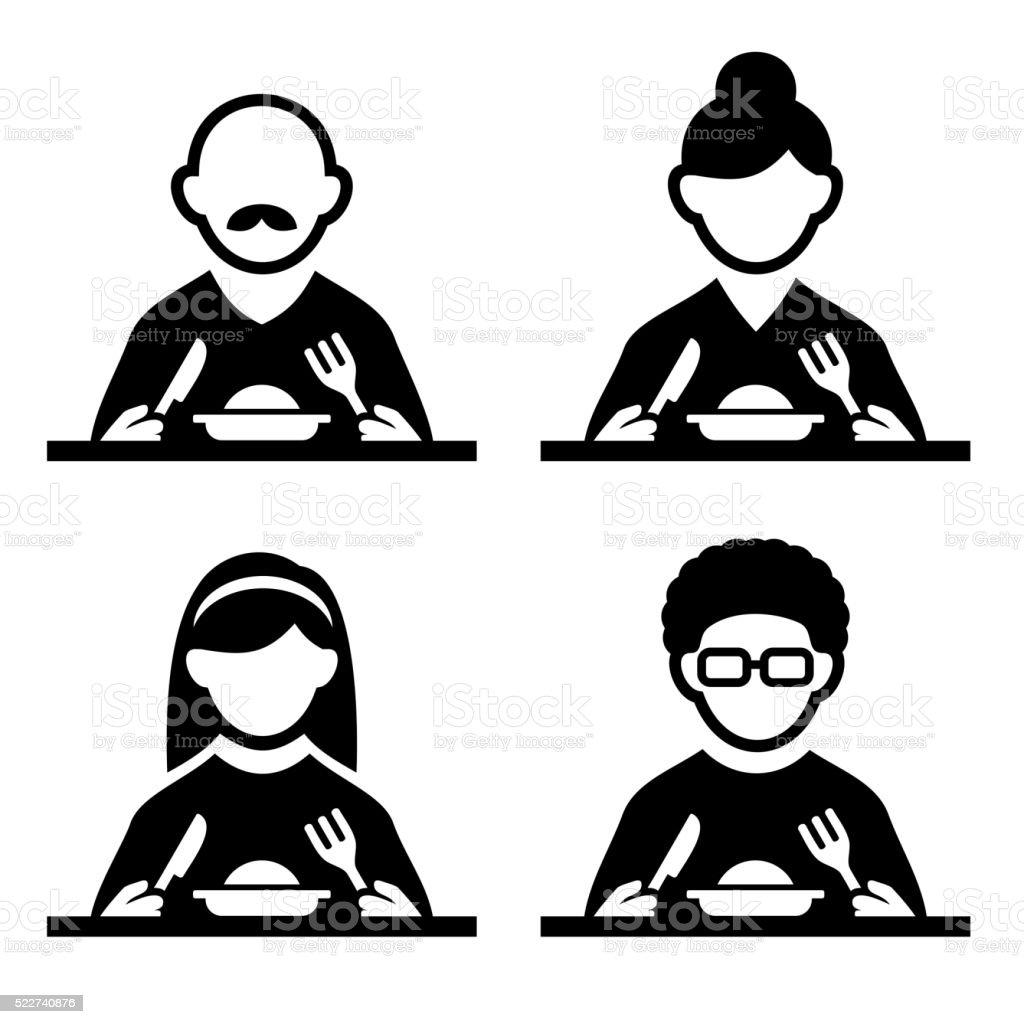 People Eating Tasting Food Pictogram Icon Set. Vector vector art illustration