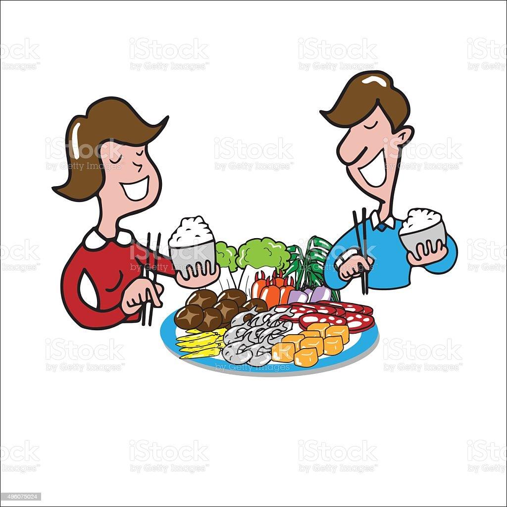 People eating vector art illustration