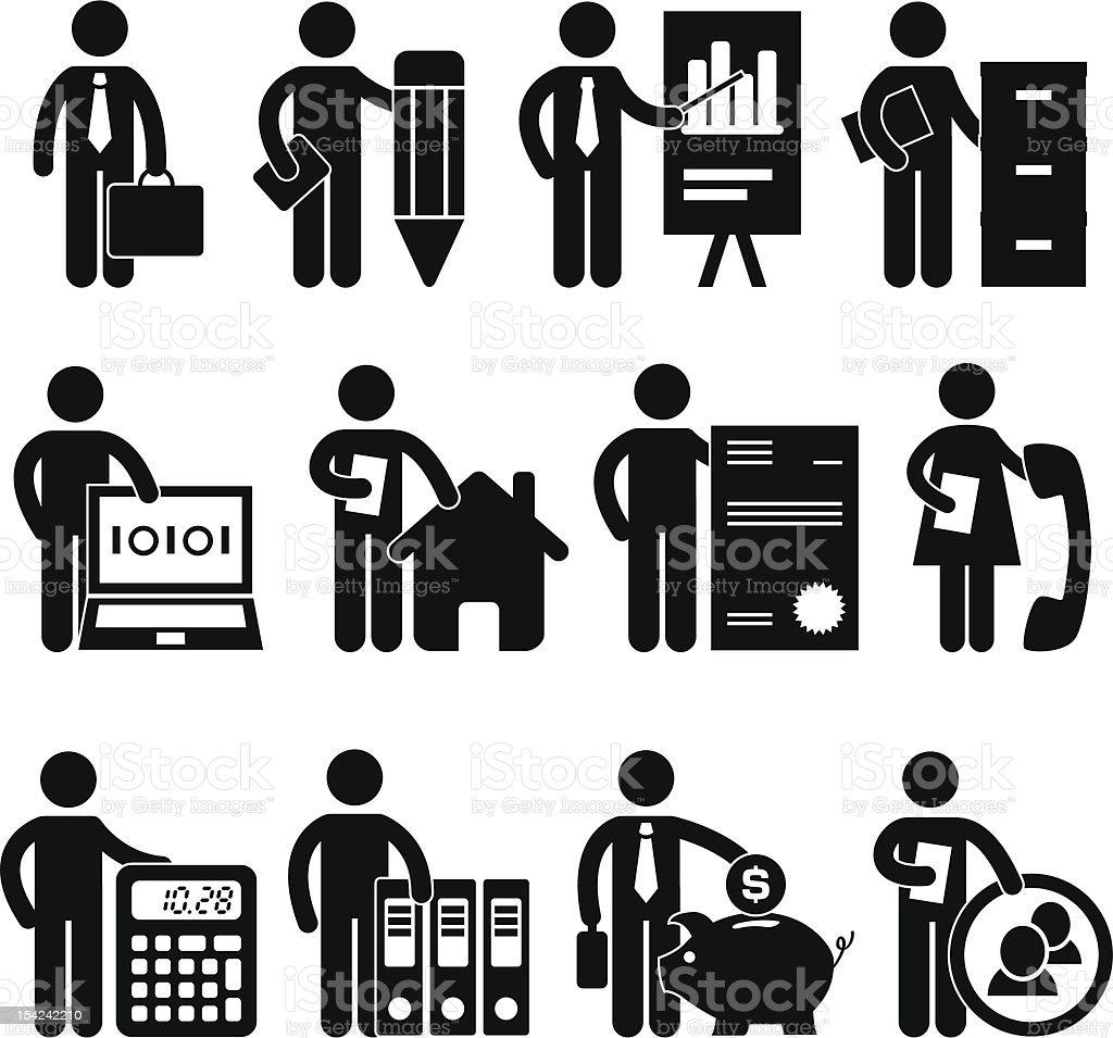 People Employee Office Job Pictogram royalty-free stock vector art