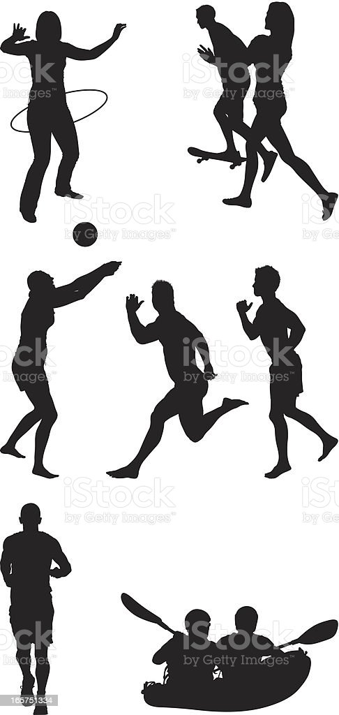 People enjoying outdoor activities and sports royalty-free stock vector art