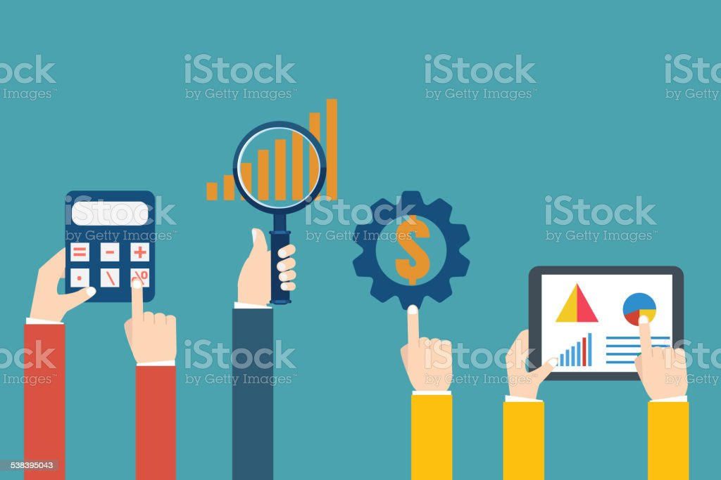 People examining economic statistic. Financial examiner. Vector vector art illustration