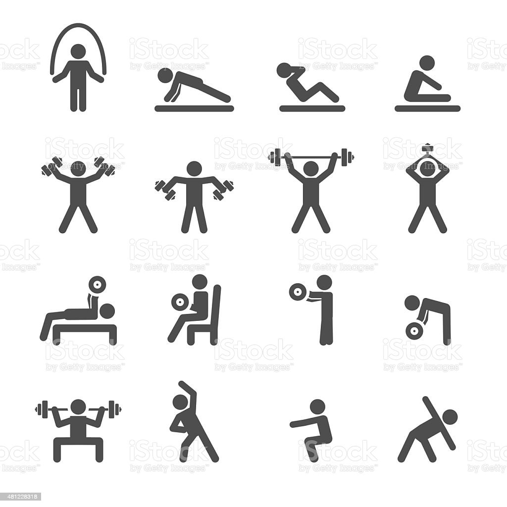 people excercise in fitness icon set, vector eps10 vector art illustration
