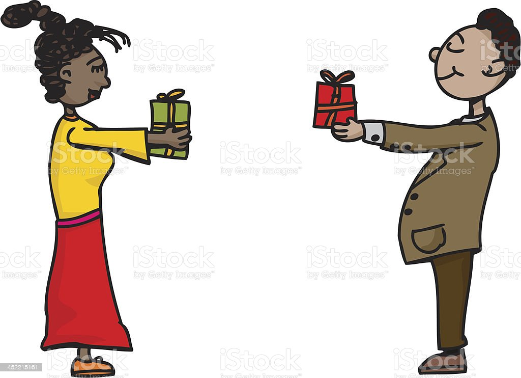 People Exchanging Gifts royalty-free stock vector art