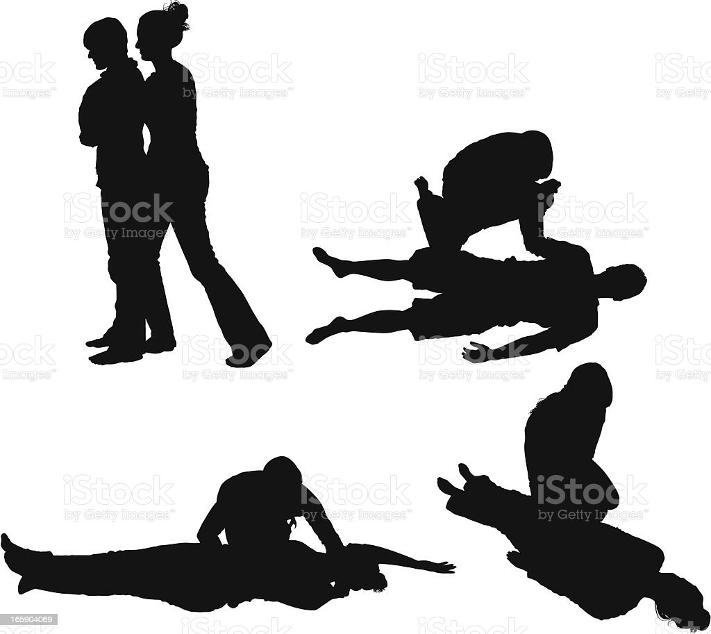 People exercising yoga with help of insructor vector art illustration
