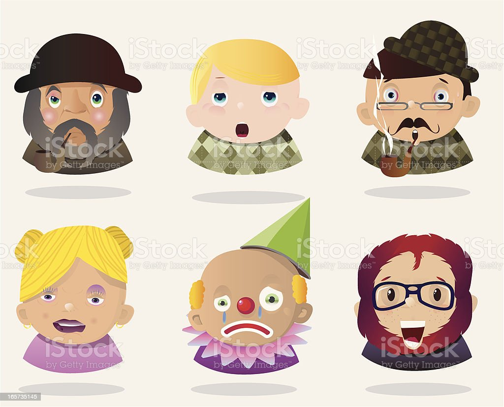 People Faces 12 royalty-free stock vector art