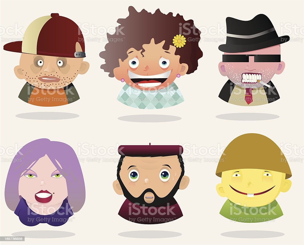 People Faces 13 royalty-free stock vector art