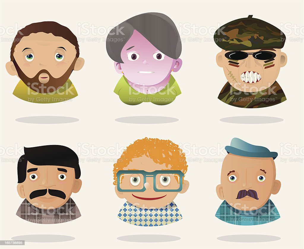 People Faces 14 royalty-free stock vector art