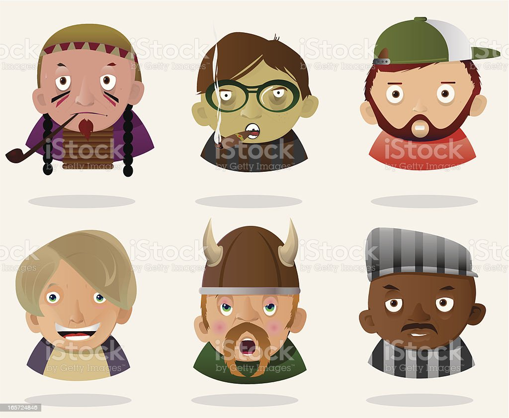 People Faces 5 royalty-free stock vector art
