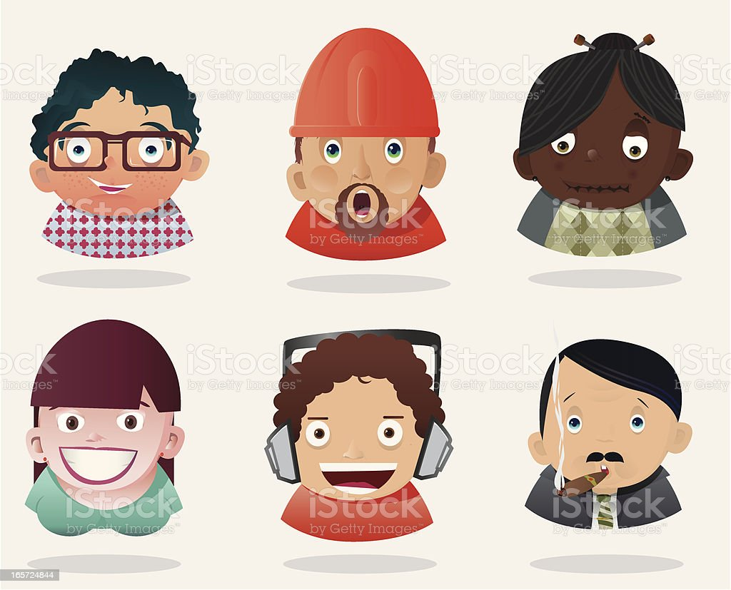 People Faces 7 royalty-free stock vector art